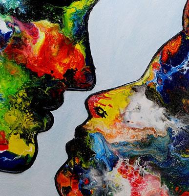 Der Kuss Mann Frau Liebespaar Liebesbild Gemälde Fluid Painting handgemalt Moderne