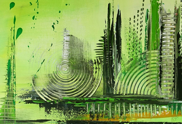 Skyline Grün Gelb abstraktes Kunst Bild handgemalt Original Gemälde