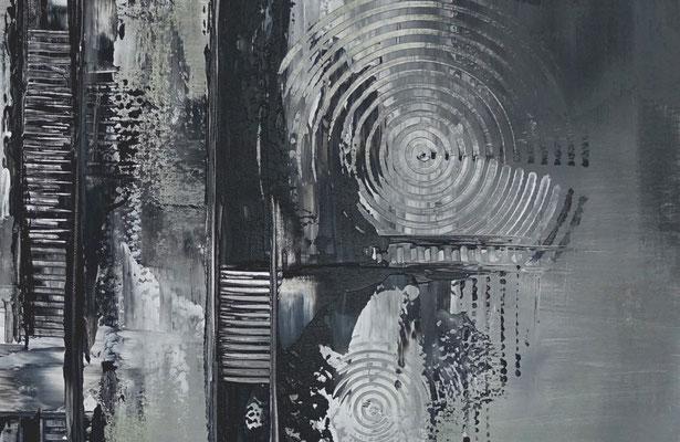 Mystic schwarz grau abstraktes Wandbild Leinwandbild Gemälde Unikate