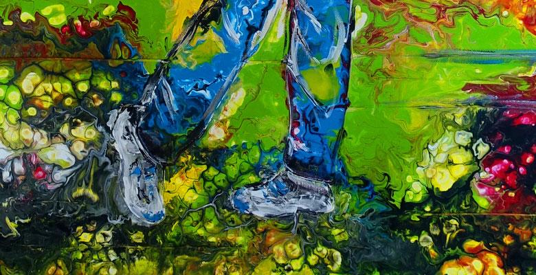 Golfspieler Bilder Abschlag Golfbilder handgemalt Wandbild Acrylbild Kunst Gemälde