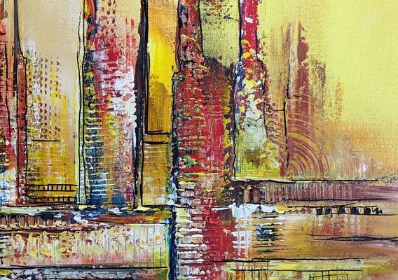 Wüstenstadt abstrakte Skyline Malerei gelb rot modernes Kunstbild