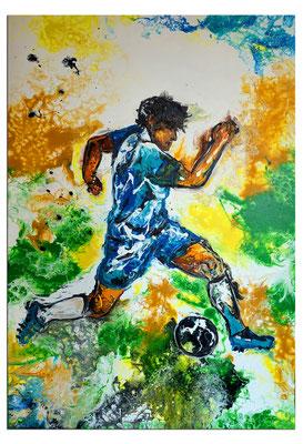 Fußball Gemälde Sport Malerei Abstraktes Kunst Bild Wandbild Unikat 60x90