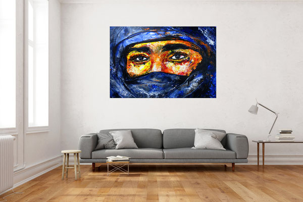 Beduinen Mann Tuareg Gesicht handdgemalt modern Pouring Acrylgemälde Malerei 2107 116x81