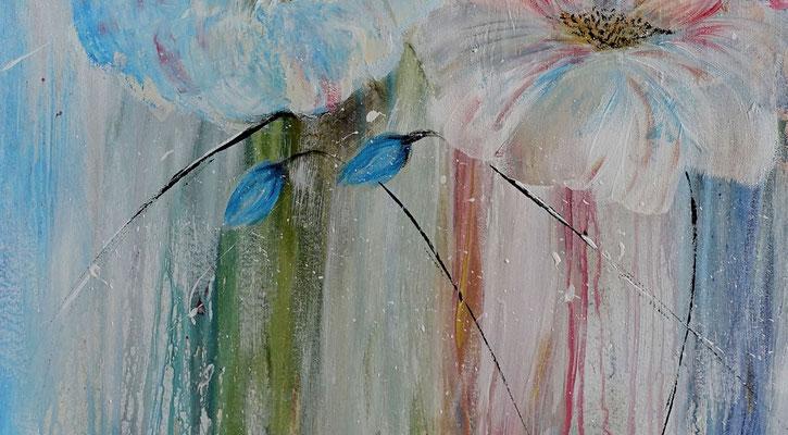 Pastellblumen Blüten Bild Wandbild handgemalt Blumen Malerei