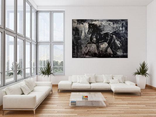 Schwarzer Hengst handgemalt Pferdebild Malerei Pferde Gemälde Acrylbild