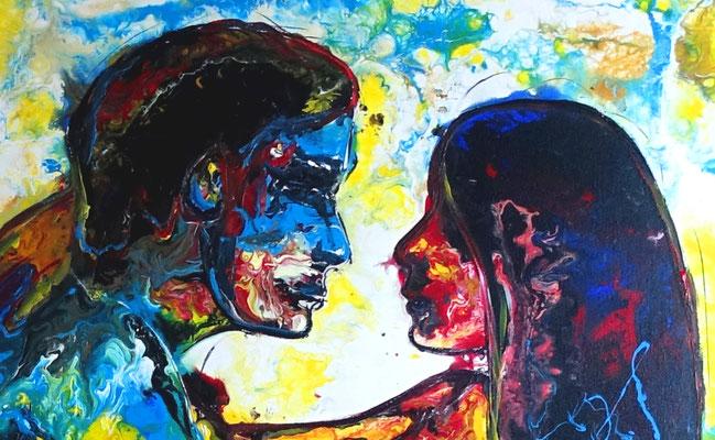 Lovestory Mann Frau Liebespaar Erotik Gemälde erotische Malerei Acrylbild