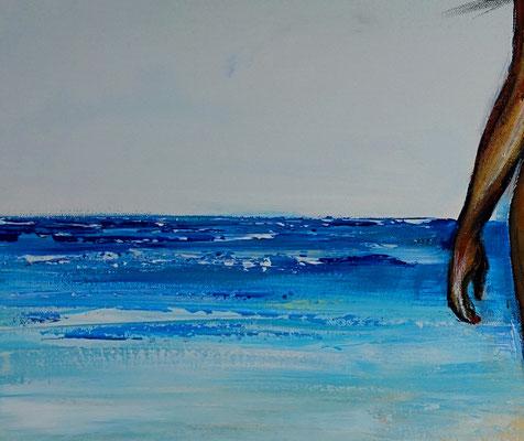 Strandspaziergang nackte Frau Strand gemalt Kunst Malerei Bild