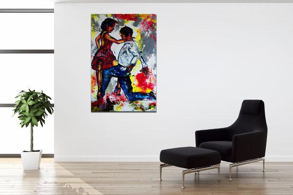 Merengue Tanzpaar Tänzerbilder Tänzer Gemälde Malerei Fluid Art Pouring Leinwand