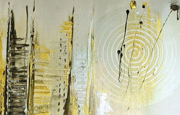 Goldenes Chaos abstraktes Acrylbild Kunstbild Silber Gold Acrylgemälde