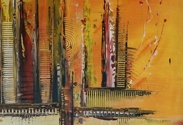 Summer abstraktes Wandbild Leinwandbild Bürobild Praxisbild gelb orange Malerei