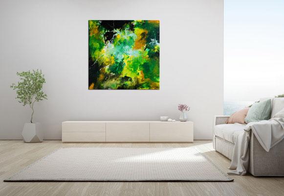 Fauna abstrakte Malerei Acrylbild grün beige Unikat Original Künstlerbild Gemälde 80x80