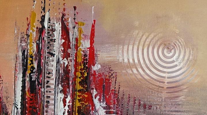 Denver abstrakte Skyline Leinwandbild rot Original Gemälde Acrylbild