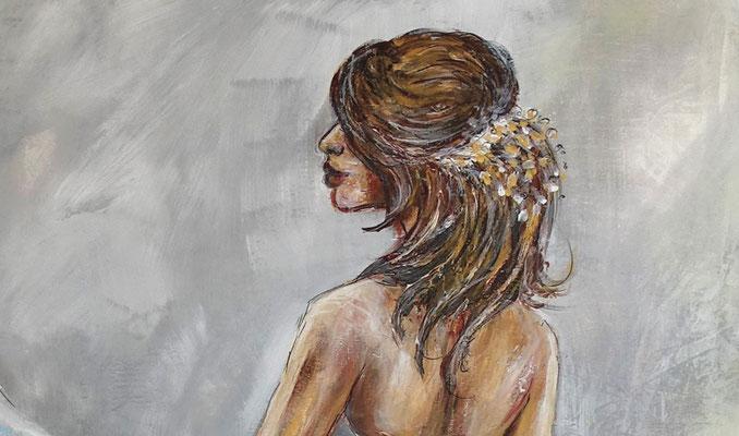 Goldenes Haarband Braut Brautmoden Ballerina Gemälde Acrylbild Wandbild Leinwandbild