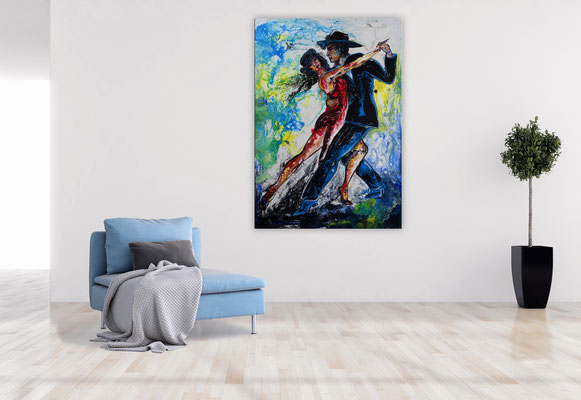 Tango 21-1 Wandbild Tänzer Tanzbild Tanzpaar Modernes Leinwandbild Original Acrylgemälde Malerei