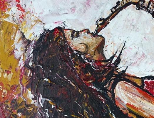 Saxophonistin 60x90 handgemaltes Musiker Bild Gemälde Saxophon rot grau
