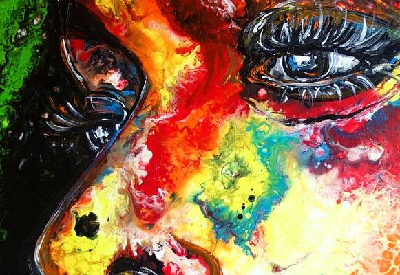 Romy abstraktes Frauengesicht handgemalt Porträt Malerei Acrylbild Original