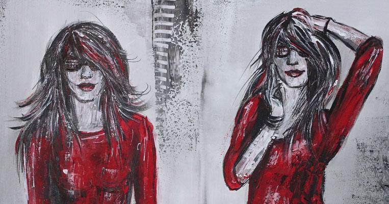2 Ladys Frauen rote Kleider Malerei Acrylbild Gemälde Unikat Original Kunst
