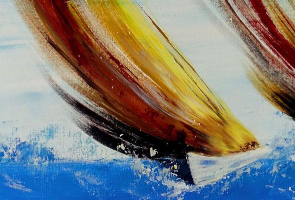 Sturmsegler 70x100 moderne Kunst Malerei Segelboote abstrakt gemalt Wandbild