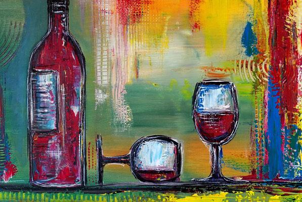 Wein Gläser Weinflasche abstrakte Malerei bunt XXl Wandbild Original Gemälde