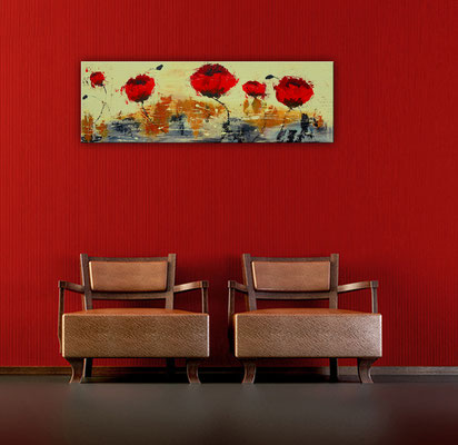 Mohnblumen Wind Küchenbild rot beige handgemaltes Acrylbild Unikat Bild