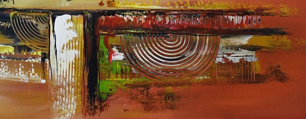 Cascaden Leinwandbild abstrakt gelb grün rot Acrylgemälde handgemalt Wandbild