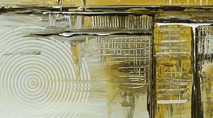 Goldenes Chaos abstraktes Acrylbild Kunstbild Silber Gold Acryl gemälde kaufen