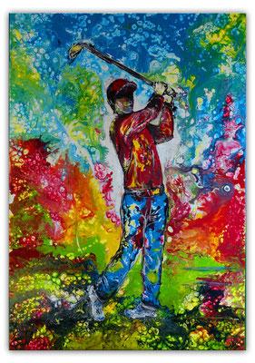 Golfspieler Bilder Abschlag Golfbilder handgemalt Wandbild Acrylbild Malerei Kunst Gemälde