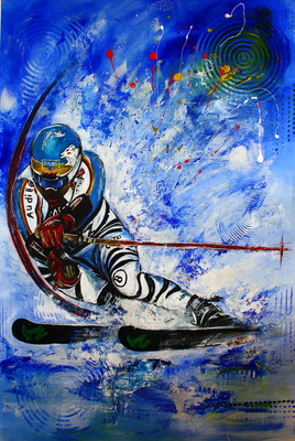 Felix Neureuther signiert mein Gemälde für einen seiner Fans