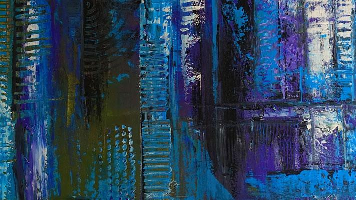 Abstraktes Kreuz blau türkis lila Acrylbild Strukturbild Original Gemälde