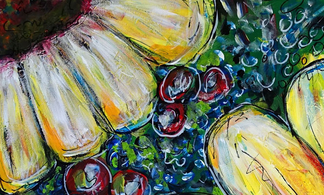 Sonnenblume Gemälde Malerei Acrylbild Unikat Leinwandbild bilder Kunst 80x80
