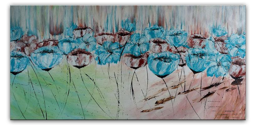Blüten Blumen Malerei Acryl Gemälde Blüten Unikat Acrylbilder blau grün rose 50x100