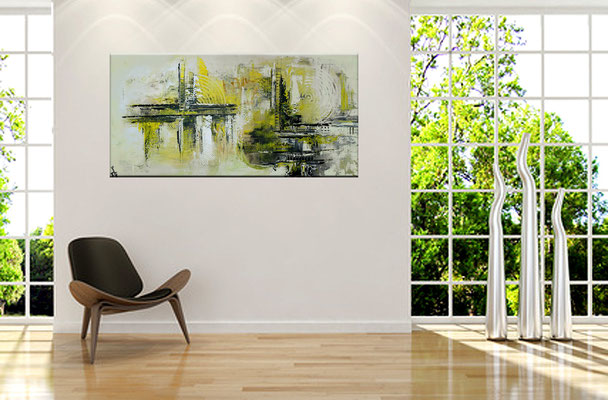 Infinion Abstrakte Malerei Wandbild abstrakt Kunstbild Gelb grau 50x100 hochkant
