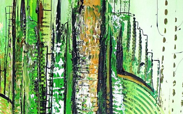 Wohnzimmerbild Leinwandbild Wandbild abstrakt gemalt grün Gemälde