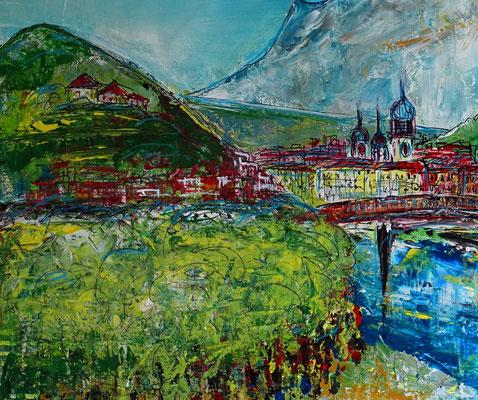 Salzburg Altstadt abstrakt gemalt - Gemälde Acrylbild Kapuzinerberg Festung Malerei