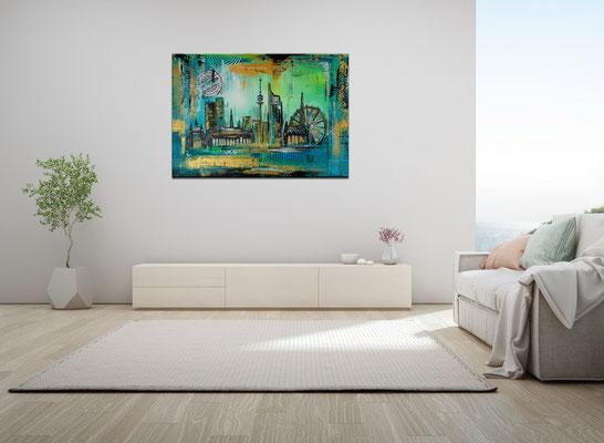 Wien Wandbilder Skyline Stephansdom Prater abstrakt gemalt Acrylgemälde Künstlerbild 70x100