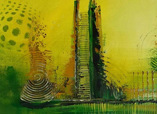 Grüne Lunge abstraktes Wandbild grün Leinwandbild handgemalt Acrylgemälde