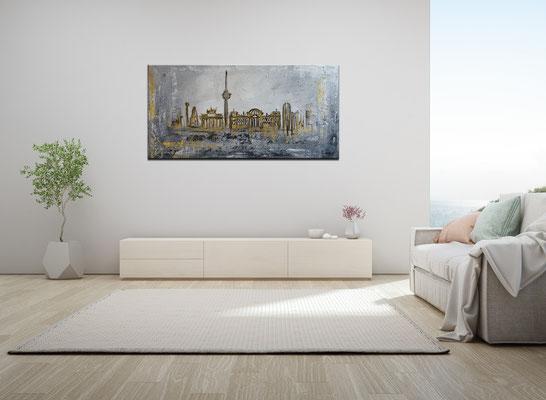 Berlin Wandbild Skyline gold grau Strukturbild Malerei Acrylbild Leinwand 100x50 k