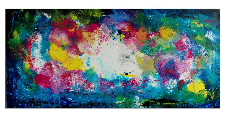 Supernova 3 abstrakte Kunst Malerei Original Gemälde Unikat Leinwand Wandbild 70x145