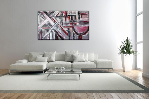Himmelsleitern XXL rosa abstraktes Bild