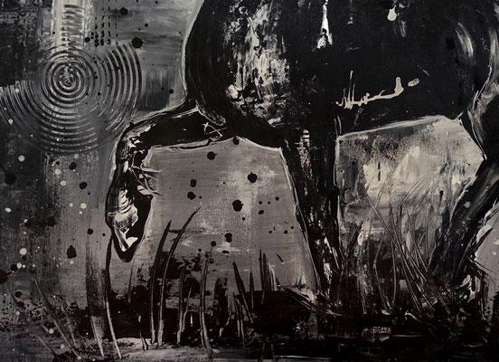 Schwarzer Hengst handgemalt Pferdebild gemalt Malerei Pferde Acrylbild