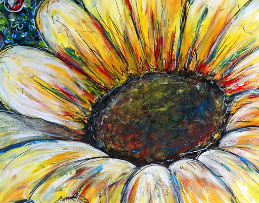 Sonnenblume Gemälde Malerei Acrylbild Unikat Leinwandbild Wandbild Praxis bilder Kunst 80x80
