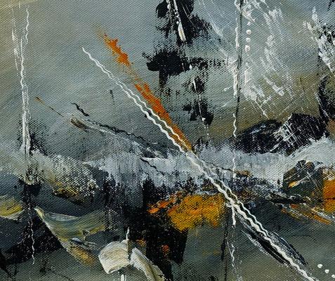 Schiffsbruch abstraktes Original Gemälde Kunst Bild grau