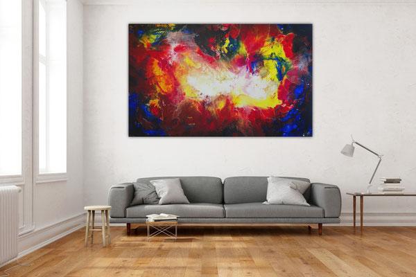 Rote Nova XXL abstrakte Malerei Wandbild Leinwandbild Original Gemälde rot