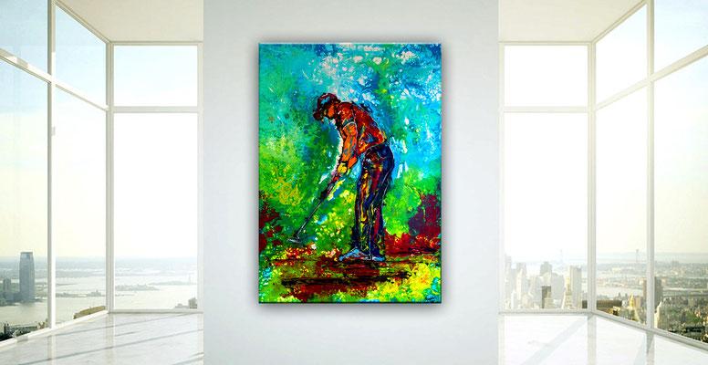Golfer Bild Abschlag Golfbild Golfspieler handgemalt Acrylbild Kunst Wandbild