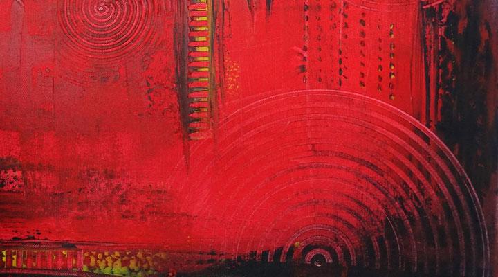 Glut abstraktes Wandbild rot schwarz Malerei Leinwandbild Kunst 100x50