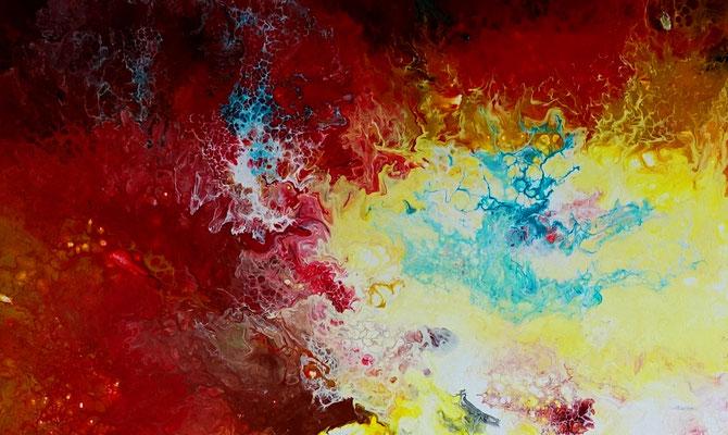 Urknall 4 abstraktes Wandbild rot gelb Malerei Kunstbild Original 80x100