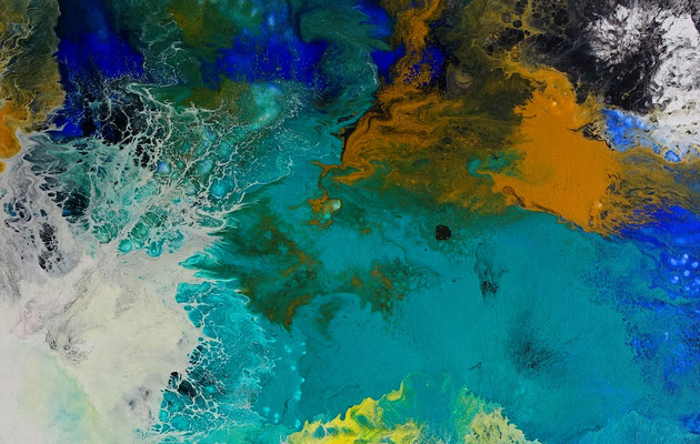 Flut Fluid Art Acrybild blau abstrakte Malerei Leinwandbild
