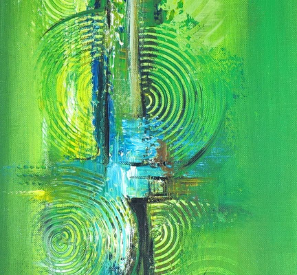 Küchenbilder grün abstraktes Acrylgemälde hochformat 5+6 k2