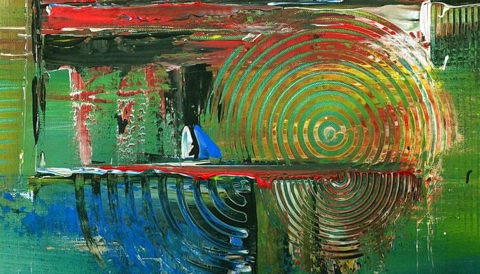 City Sunset abstraktes acrylbild rot kunst bilder kaufen