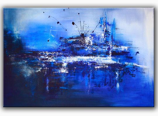 Blaue handgemalte Wandbilder, Leinwandbilder, Keilrahmenbilder - Acrylbilder in Blau - blaues Bild kaufen